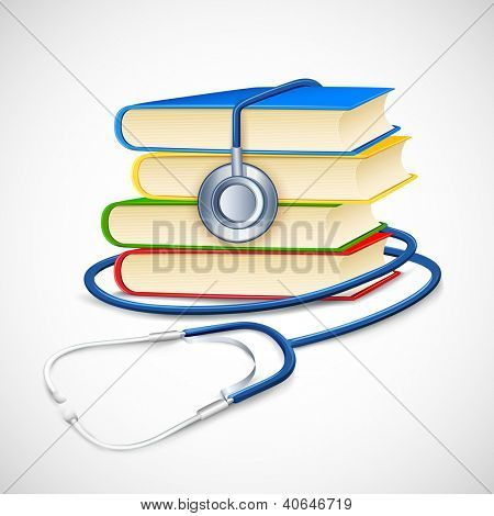 illustration of stethoscope on pile of medical book