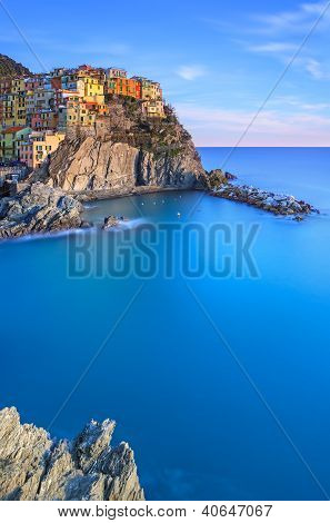 Manarola, Rocks And Sea At Sunset. Cinque Terre Park, Italy