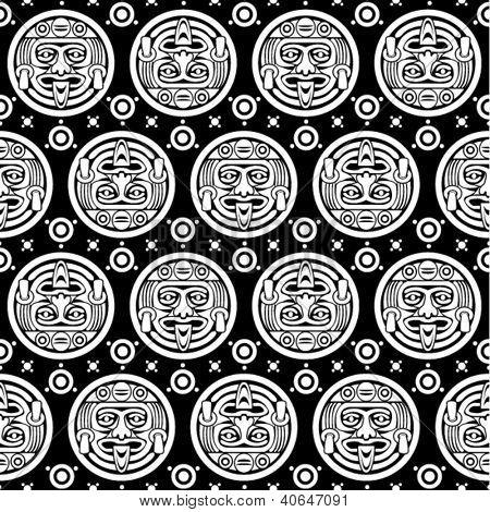 Aztec Seamless Pattern in Black & White