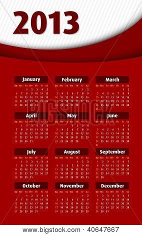 abstract red 2013 calendar