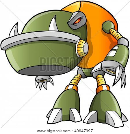 Massive Warrior Robot Cyborg Soldier Vector
