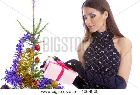 Model With Christhmas Present