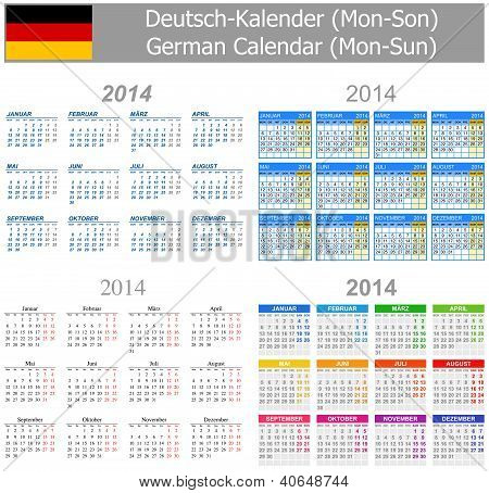 2014 German Mix Calendar Mon-sun