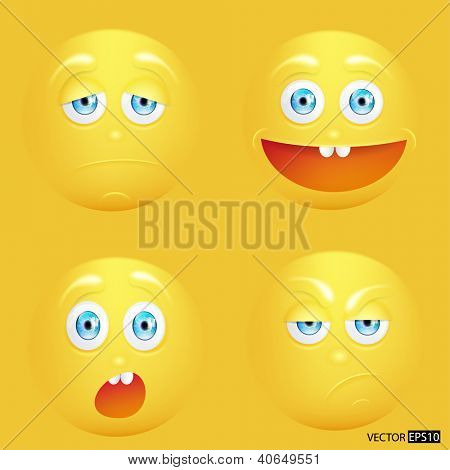 Vector illustration set of emoticons.
