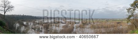 Flooding Of The Mayenne River In France (panoramic View)