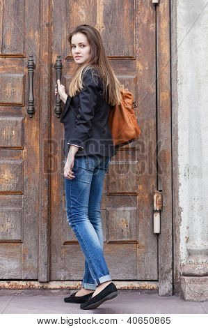 Girl Near The Old Door