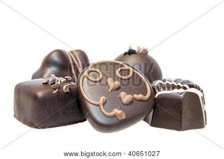 Dark And Milk Chocolate Assortment Closeup