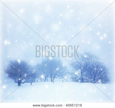 Photo of beautiful snowy landscape, Christmas postcard, snow cover on the trees, seasonal snowfall, snowstorm in cold winter day, frosty weather, hoarfrost on wood branches, wintertime panorama