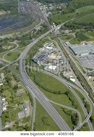 Aerial View Of A Junction Motorway  In France