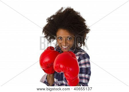 Female Afro American With Red Boxing Gloves