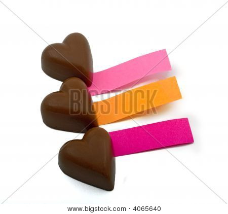 Tres corazones de Chocolate y notas