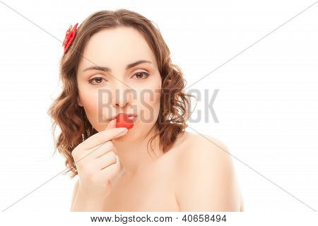 Woman With Heart-shaped Candy