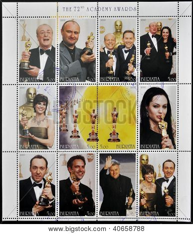 BURYATIA - CIRCA 2000: Collection stamps dedicated to the 72nd Academy Awards (oscar),circa 2000
