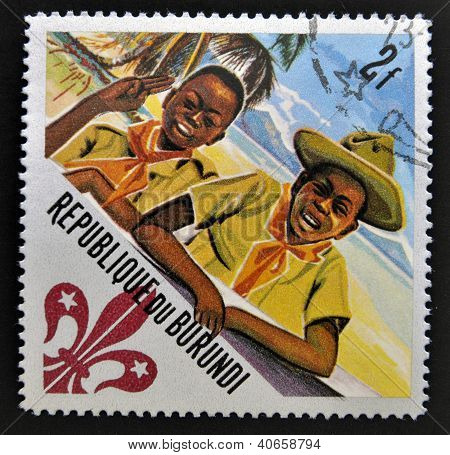 BURUNDI - CIRCA 1967: A stamp printed in Burundi shows Scouts Two scouts circa 1967