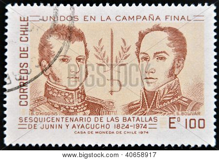 dedicated to sesquicentennial of the battle of Junin and Ayacucho shows Simon Bolivar and Higgins