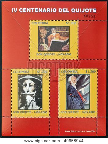 COLOMBIA - CIRCA 2005: Collection stamps dedicated to Don Quixote circa 2005