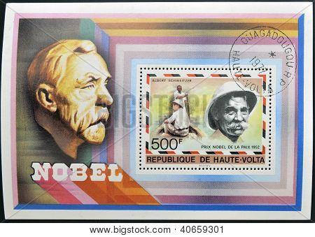 A stamp printed in Upper Volta shows Dr. Albert Schweitzer circa 1977