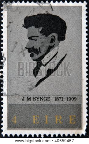 IRELAND - CIRCA 1971: A stamp printed in Eire shows J.m.synge Playwright circa 1971