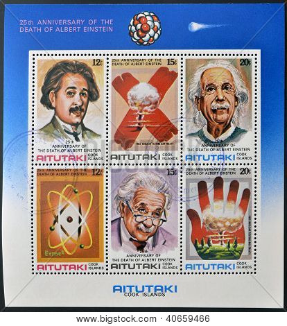 stamps printed in Cook Islands in honor of Mathematician Physicist Nobel Prize Albert Einstein
