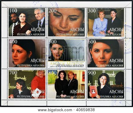 collection stamps printed in Abkhazia (Georgia) shows Monica Samille Lewinsky circa 1999