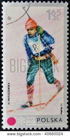 POLAND - CIRCA 1971: A stamp printed in Poland shows biathlon circa 1971