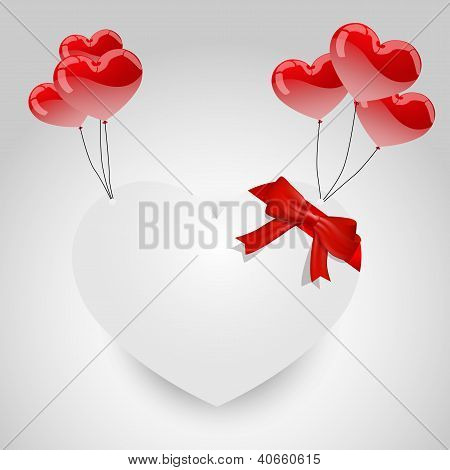 White paper hearth with hearth shape balloons