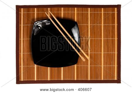 Black Plate With Chopsticks