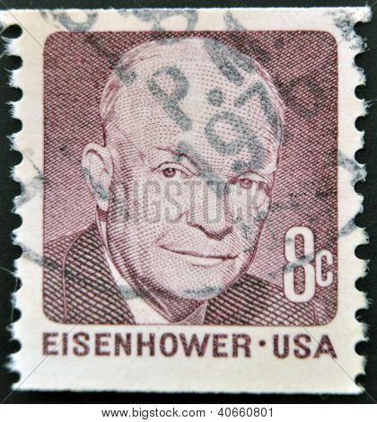 "A stamp printed in USA shows image portrait Dwight David ""Ike"" Eisenhower circa 1980"