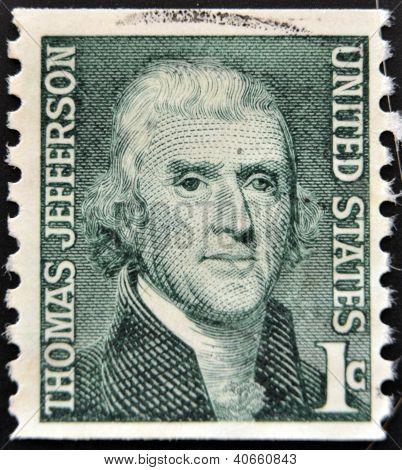 Estados Unidos da América - por volta de 1930: Um selo imprimido nos EUA mostra imagem retrato Thomas Jefferson
