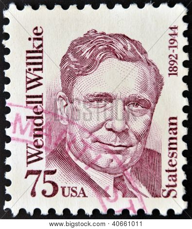UNITED STATES OF AMERICA - CIRCA 1992: A stamp from the USA shows image of statesman Wendell Willkie