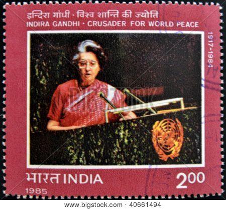 INDIA - CIRCA 1985: A stamp printed in India showing Indira Gandhi circa 1985