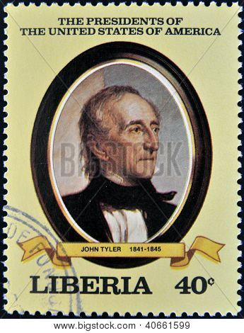 A stamp printed in Liberia shows President John Tyler circa 1982