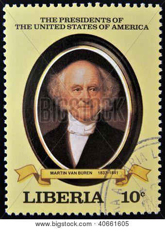 A stamp printed in Liberia shows President Martin Van Buren circa 1982