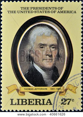 A stamp printed in Liberia shows President Thomas Jefferson circa 1982