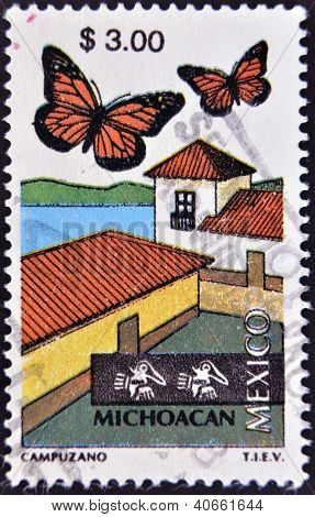 MEXICO - CIRCA 1997: A stamp printed in Mexico dedicated to Michoacan, lepidoptera, circa 1997