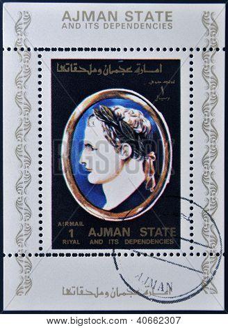 A stamp printed in United Arab Emirates (UAE) shows Julius Caesar Emperor of Rome circa 1975