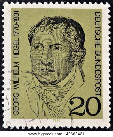 A stamp printed in Germany showing portrait of German philosopher Georg Wilhelm Friedrich Hegel
