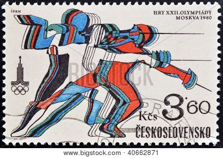 A stamp printed in Czechoslovakia dedicated to 22nd Olympic Games Moscow shows fencing
