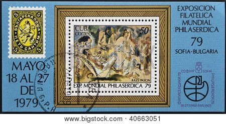 CUBA - CIRCA 1979: A stamp printed in Cuba shows paint by Jules Pascin circa 1979