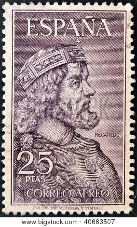SPAIN - CIRCA 1963: A stamp printed in spain shows Recaredo circa 1963