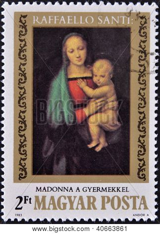 HUNGARY - CIRCA 1983: stamp printed in Hungary shows Painting by Raphael