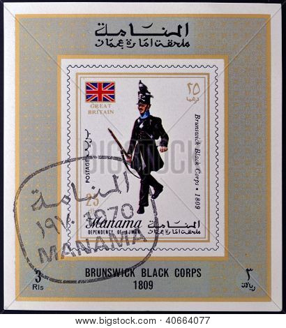 MANAMA - CIRCA 1970: A stamp printed in Manama shows Brunswick Black Corps 1809 circa 1970