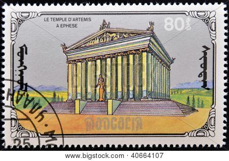 MONGOLIA - CIRCA 1990: A stamp printed in Mongolia shows Temple of Artemis at Ephesus circa 1990