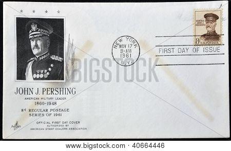 UNITED STATES OF AMERICA - CIRCA 1961: stamp printed in USA shows John J. Pershing general officer i