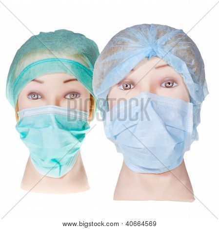 Mannequin Doctor Heads Wearing Textile Surgical Cap And Mask
