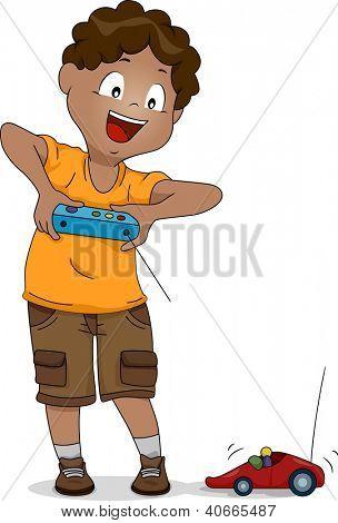 Ilustración de un niño jugando con un coche de control remoto