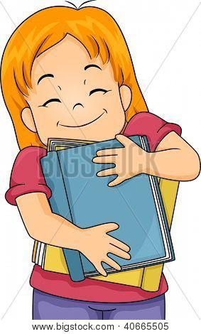 Illustration of a Girl Hugging Books