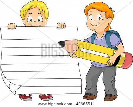 Illustration of a Boy Holding a Piece of Ruled Paper While Another Boy Holds a Pencil