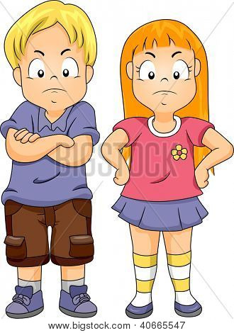 Illustration of a Boy with His Arms Crossed and a Girl with Her Arms on Her Waist
