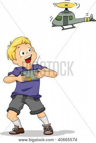 Ilustración de un niño jugando con un juguete de control remoto Chopper